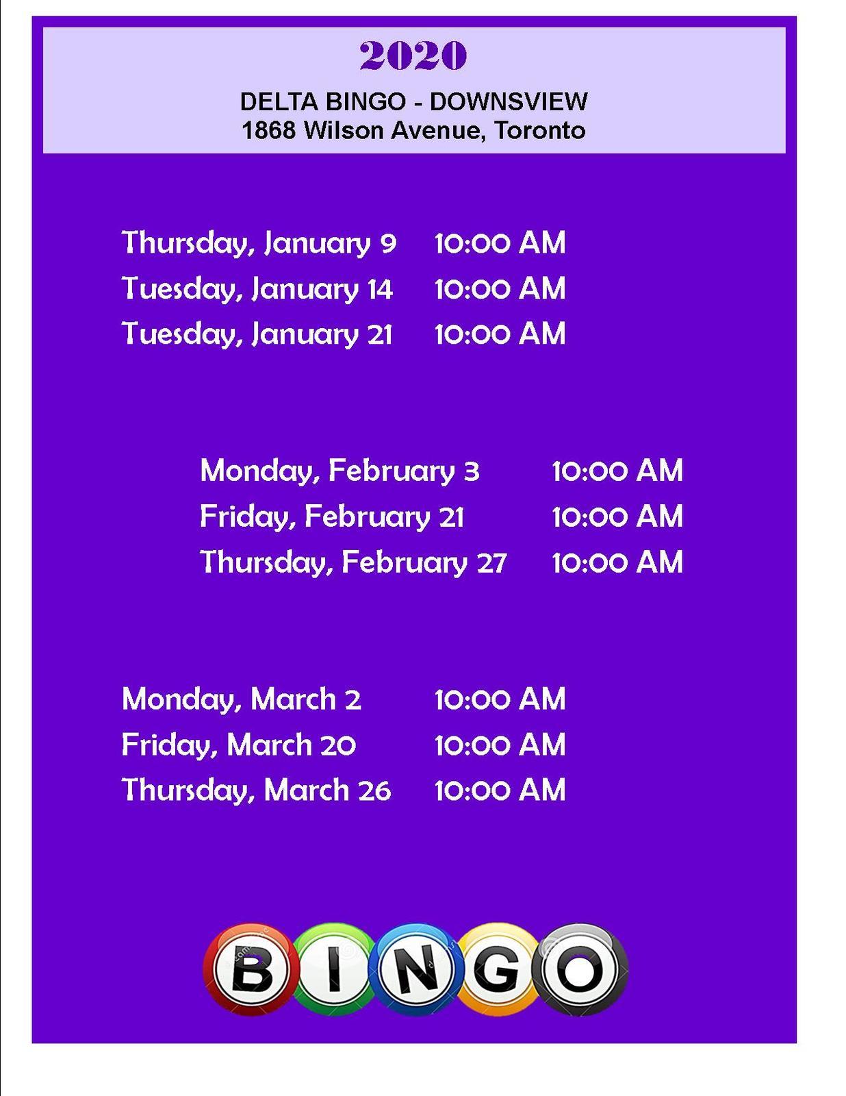 Delta Bingo Schedule